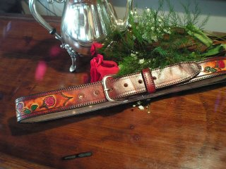 Brown Rose Belt 1.5 inches<br> with standard buckle