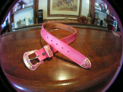 Pink Three Rose Belt<br> with Buckle Set