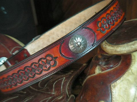 Diamondback Design<br> with two German Silver Conchos